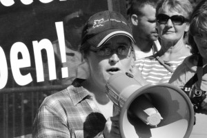 Katie Ward of the National Farmers' Union speaks at a protest against the Comprehensive Economic and Trade Agreement in Ottawa on Sept. 26.  Photo: Sam Heaton