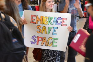 "Students demonstrate against ""Fuck Safe Space"" message at Carleton University Sept. 8, 2014.  Photo: Sam Heaton"