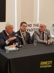 The men in the photo, from left to right, are Don Bayne (Hassan Diab's lawyer in Canada), Hassan Diab, and Alex Neve (Canada Secretary General, Amnesty International)