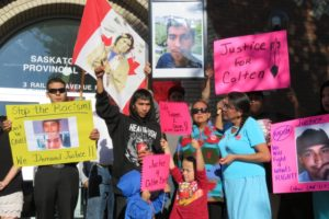 Colten Boushie's family being supported outside the North Battleford courthouse Aug. 18, 2016. Photo: Red Power Media