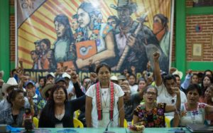 Maria de Jesus Patricio Martinez (centre, standing) was the first Presidential Candidate put forth by the Zapatistas and the National Indigenous Congress.