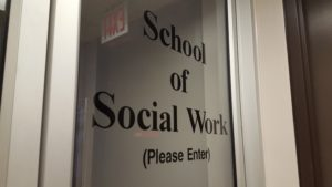 The School of Social Work office at Carleton University, currently closed due to the CUPE 2424 strike. Credit: Stephen Cook